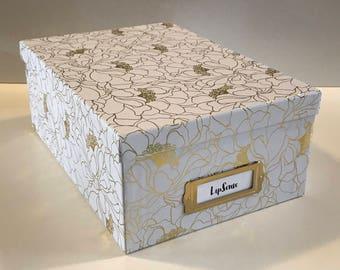 White with gold flowers LipSense storage box