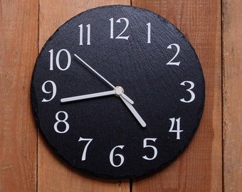 Modern Round Slate Clock- sandblasted and infill painted (SR1148)