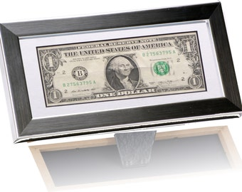 First Dollar Frame With Mat  - This 4x9 Stainless Steel Frames Has Been Designed to Display All US Curency, Money On The Wall Or Countertop