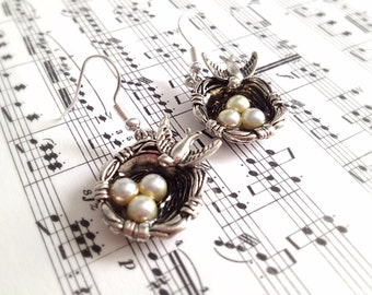 Bird Nest Charm Earrings. Bird Jewelry. Mother's Day Jewelry. Three Children. White Pearl. Vintage Style. Antique Silver. Black. Romantic.