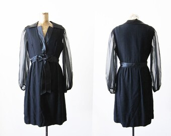 Black 60s Dress Vintage Cocktail Dress 60s Mod Mini Dress Mad Men Little Black Dress 1960s Party Dress 60s Clothing Sheer Black Dress S M