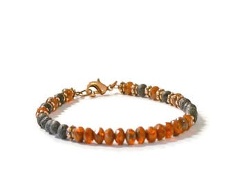 Aromatherapy Essential Oil Diffuser Bracelet, Czech Glass, Natural Lava Rock, and Antique Copper, Balance/Energy Jewelry