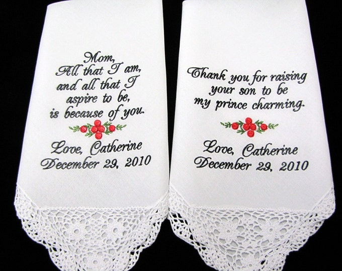 Bullion Rose Personalized Wedding Handkerchiefs for Mother of the Bride and Groom