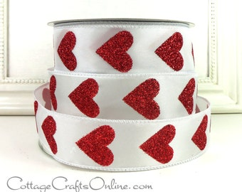 "Valentine Wired Ribbon, 1 1/2"" wide, Red Glitter Heart - THREE YARDS - ""Big Heart"" Craft Decor Wire Edge Ribbon"