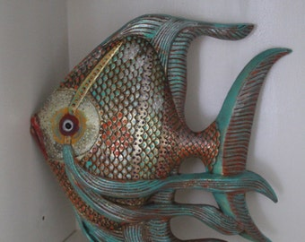 Hand painted fish wall mount
