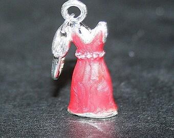 Red enamel dress charm 3D charm on clasp