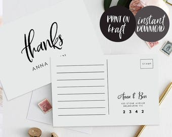 Thank You Postcard Printable INSTANT DOWNLOAD PDF Rustic Thank You Card, Thanks Card, Favor Card, Wedding Thank You Card - Juliette