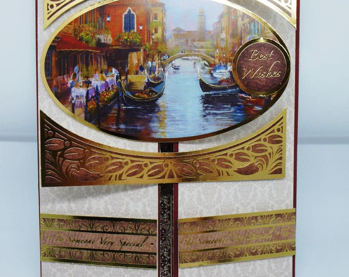 Venetian Water Scene, Waterside Cafe, Boats, Gate Fold Card, Gold and Maroon, Male or Female, Greeting Card, Birthday Card