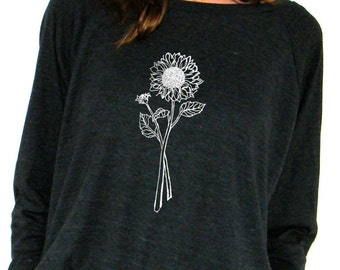 Womens Long Sleeve Sweatshirt - Sunflower Design - American Apparel Raglan Pullover - Small, Medium, Large