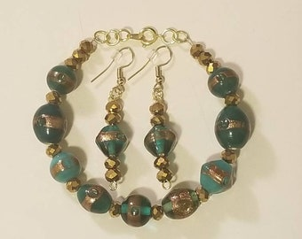 Green and Bronze Bracelet and Earring Set