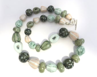 Ceramic Jewelry, Kazuri Bead Necklace, Statement Necklace, Pastel Shades of Pink Blue Green and Dark Green