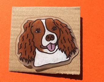 Springer spaniel dog pin badge. Handmade.