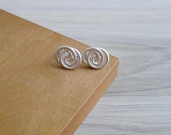 Vintage 80's Modernist Circles Silver Clip & Screw Back Earrings