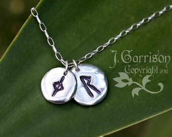 Double runes necklace- fine silver rune stone charms on sterling silver chain - personalized - runic symbols or initials - Free shipping USA