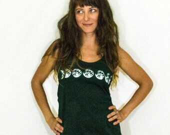 Emerald Green Moon Phase Shirt, Moon Cycle, Lunar Phases of the Moon  Women's Tank Top
