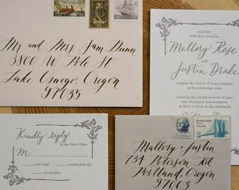Letterpress Wedding Invitation -  Flower Letterpress Design - Classic Letterpress Invitation - Calligraphy, Elegant, Classic, Custom, Floral