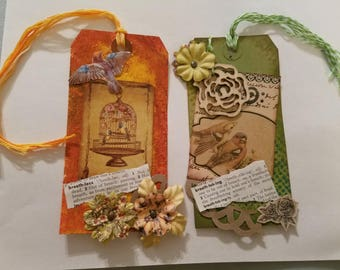 Set of 2- Altered Art, Mixed Media Art Tags