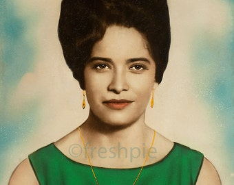 Beehive Woman's Portrait Fab Hand Colored Photo from Spain Cira 1960s Restored Digital Download
