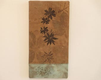 "Cranesbill Ecoprint Wall Hanging - Ready-To-Hang Wall Decor - Wisconsin Local Color - CF6x121703 - 6""x12"" (15x30cm) - Free Shipping"