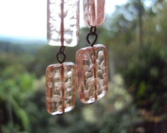 Pretty vintage pink glass beads upcycled into  dangle earrings for pierced ears
