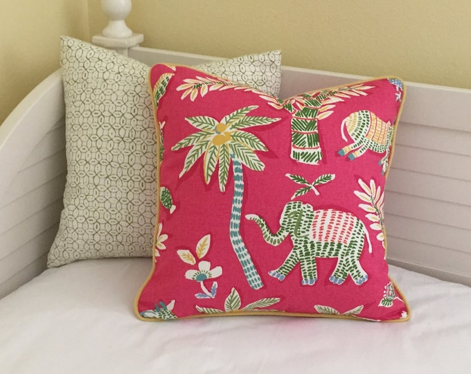 Thibaut Goa in Pink with Elephant and Donkey Designer Pillow Cover with Choice of Piping - Square and Euro Sizes