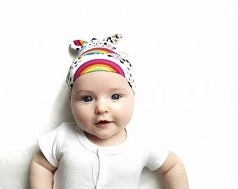 RockerByeBeanies Emo Skull Rainbow Clouds Hearts Newborn Baby knit skull cap hat beanie boy or girl