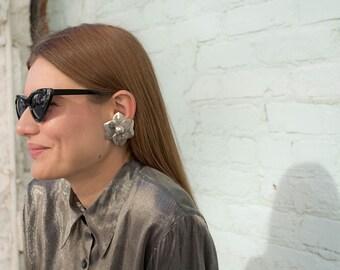 Avant-Garde Floral Earrings / Silver Flower Earrings / Oversized Earrings / Statement Earrings / Costume Jewelry / Rare Vintage Earrings