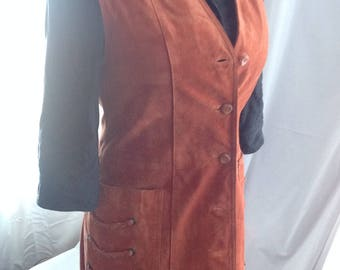 Jacket long /Manteau Long sleeveless Womens suede / Duster Maxi /Vintage 1970 / Orange color / Boho/Hippie/leather suede Orange Duster