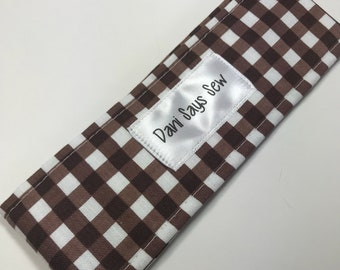 Brown and White Gingham Gender Neutral Diaper Strap