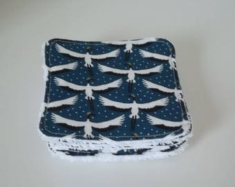 Washable wipe Bird on blue cotton and Terry cloth