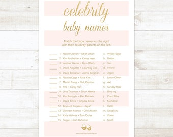 pink stripe gold glitter celebrity baby names baby shower matching game, pink and gold glitter baby shower digital game - INSTANT DOWNLOAD
