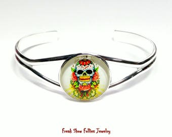 day of the dead sugar skull silver cuff bracelet