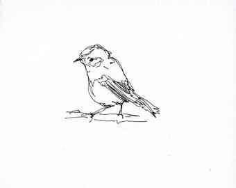 Skizzenbuch Verkauf - Vogel #19 Original Tuschezeichnung - 8 x 10 Songbird Original-Kunst