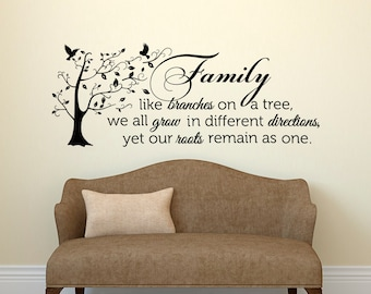 Family Like Branches On A Tree Vinyl Wall Quote Decal, Family Tree Decal,  Family