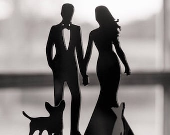 MADE In USA, Wedding Cake Topper with Dog, Bride and Groom Silhouette Cake Topper, Wedding Cake Romantic Topper Wedding Topper with Peg Dog