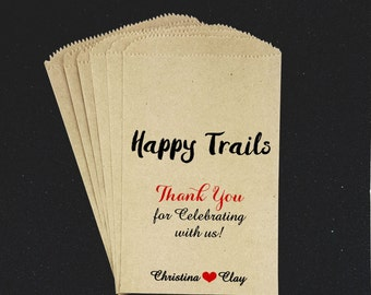 W11 ,Happy Trails, Trail Mix, Wedding Candy Bag, Candy Buffet, Favor Bag, Treat Bag, Kraft, Personalized bag, Midnight Snack, Snack Table