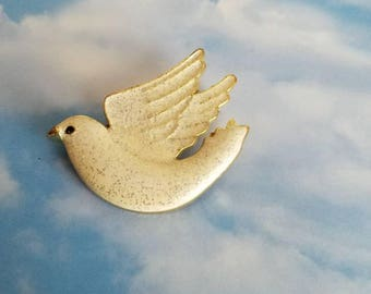 Dove with sparkly white enamel dove pin, gold accents. White peace dove