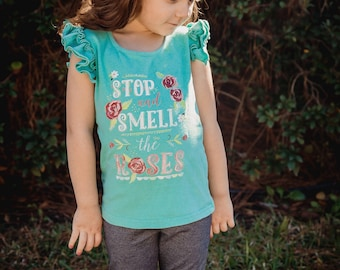 SALE** Stop & Smell the Roses Girls T Shirt - Reg. 28 - NOW 12