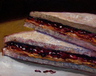 Peanut Butter and Jelly Sandwich Oil Painting