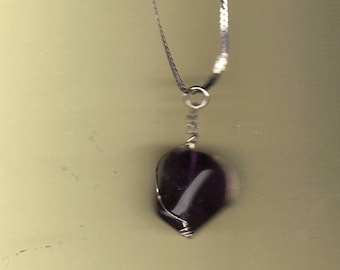 amethyst nugget necklace with sterling silver chain