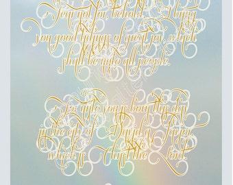 Luke 2 10-11 Angel said Saviour Born beautiful Christmas print rainbow scriptures INSTANT DOWNLOAD holiday decorations  Gina Waltersdorff