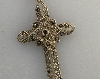 Delicate Sterling Marcasite Cross