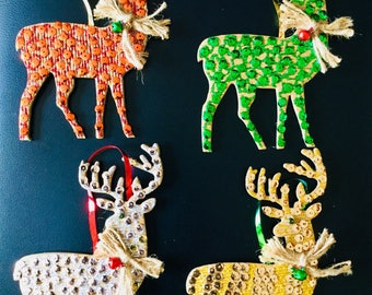 Christmas ornaments ,Reindeer ornaments,tree ornaments (set of four)