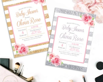 Pink Gold Silver Baby Shower Invitation, Floral Baby Shower Invitation, Floral Girl Baby Shower Invitation, Glitter Baby Shower