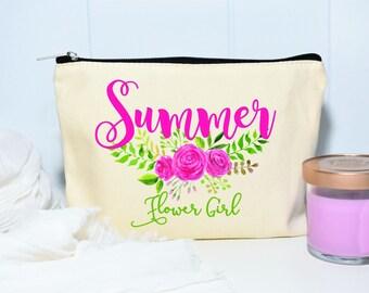 Flower Girl Gift, Flower Girl Makeup Bag, Gift for Flower Girl, Makeup Bag, Monogram Cosmetic Bag, Floral Makeup Bag, Canvas Bag, Floral Bag