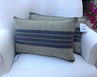 Blue & Gray Green Kilim Rug Pillow, Two Available