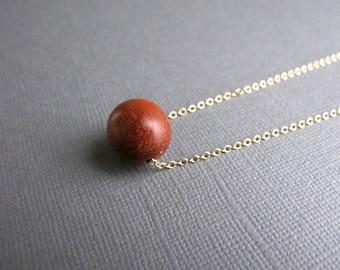 Wood Bead Necklace, 14k Gold Chain Minimalist Jewelry