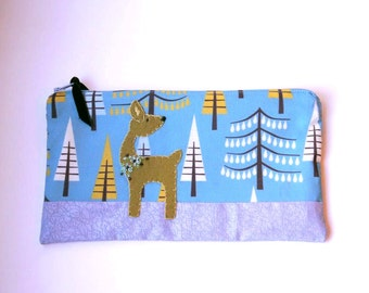 "Zipper Pouch, 5.5x9.5"" blue, mustard, brown, gray and cream Pine Tree Fabric with Handmade Felt Deer Embellishment, Deer Pencil Case"