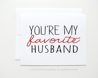 "Anniversary Card "" You're My Favorite Husband "" Greeting card. Boyfriend Card. Husband Card. Valentine's Day card, Love card"