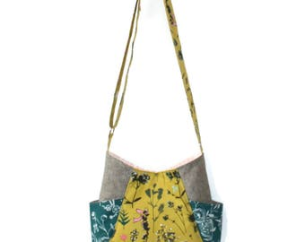 Hobo Bag Purse, Floral Purse, Green Crossbody, Hobo Bag, Teen Purse, Floral Handbag, Floral Purse, Vegan Purse, Green Floral